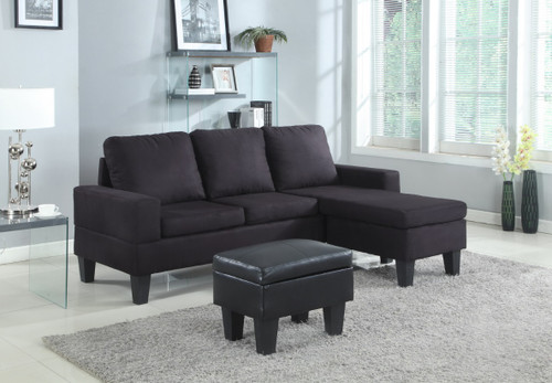 Black Microfiber Sectional W/Storage Ottoman