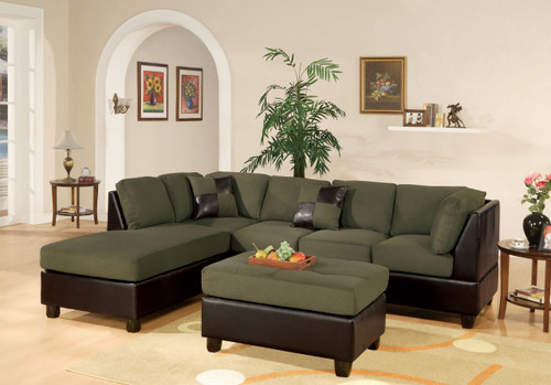 3PC REVERSIBLE SECTIONAL  WITH OTTOMAN IN SAGE
