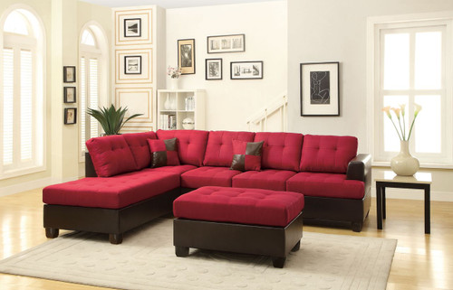 3PC CARLY SECTIONAL WITH OTTOMAN IN BLENDED LINEN CARMINE