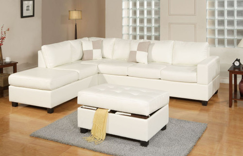 3PC JACKSON SECTIONAL IN BONDED LEATHER CREAM