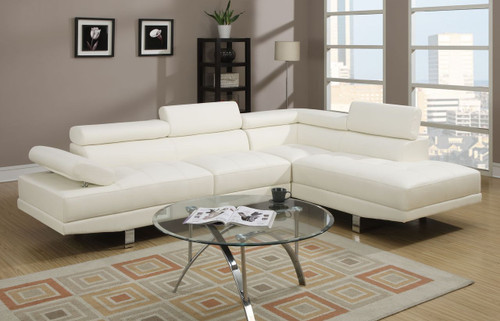 2PC BELLANO SECTIONAL IN WHITE
