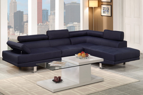 2PC BELLANO SECTIONAL IN BLUE LINEN