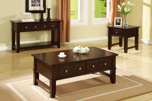 ESPRESSO BROWN WOOD TOP COFFEE TABLE