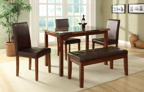5-PCS DINING SET FAUX MARBLE LEATHER