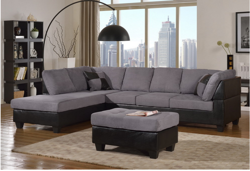 MODERN 2PCS SECTIONAL SOFA AND CHAISE IN GREY