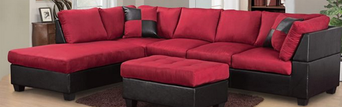 Sectional Chaise Carmine Red