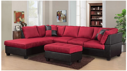 MODERN 2PCS SECTIONAL IN RED MICROFIBER AND BLACK LEATHER