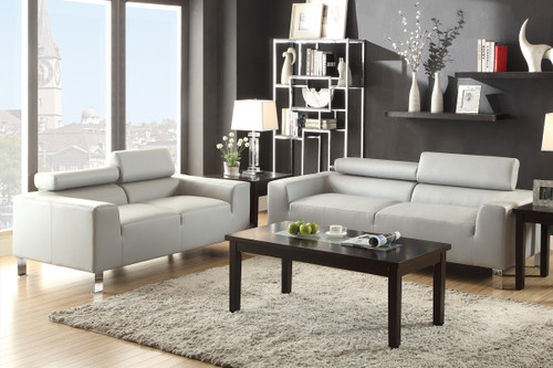 2PC MOMO SOFA AND LOVESEAT WITH HEADREST IN GRAY