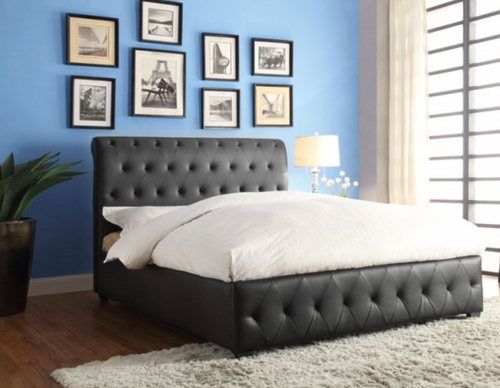BALDWYN Black Leather Tufted Bed (Low Profile Boxspring or Bunkie Board Required)