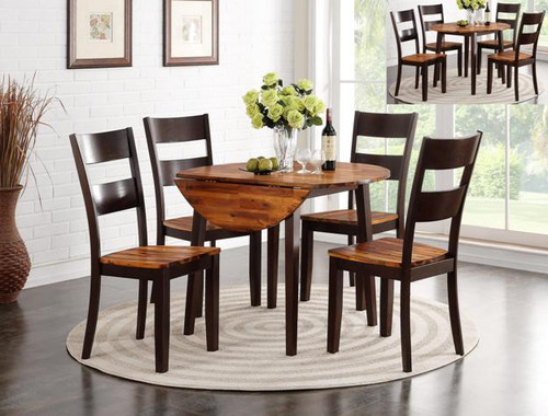 JACEY ROUND DROP LEAF TABLE 2 TONE 5PC DINING SET