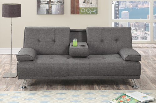 PRESTON ADJUSTABLE SECTIONAL IN SLATE POLYFIBER (LINEN-LIKE FABRIC)