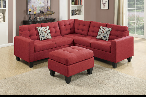 4PC MODULAR SECTIONAL W/ 2 ACCENT PILLOWS IN CARMINE COLOR