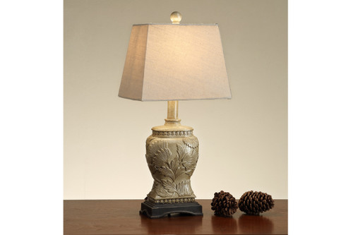 "CERAMIC TEXTURED FLORAL PATTERN BASE LAMP 20"" H (2 LAMPS)"