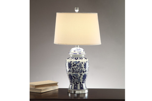"FLORAL PATTERNS WITH SILVER ACCENTS BASE LAMP 28"" H (2 LAMPS)"