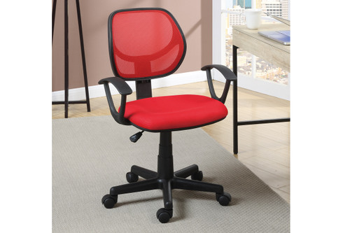 MESH BACK SQUARE SEAT RED OFFICE CHAIR