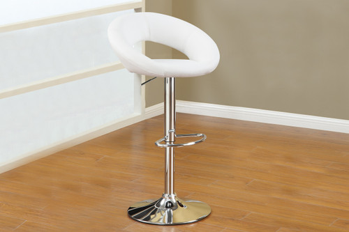 2PC WHITE FAUX LEATHER SOLAR RING STYLE BAR STOOL