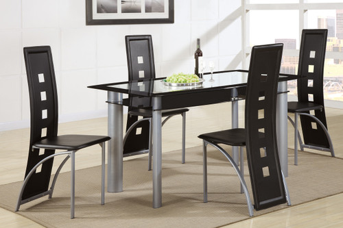 5PCS BLACK FAUX LEATHER RECTANGULAR TEMPERED GLASS TABLE TOP DINING SET