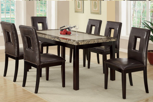 7PCS SQUARE SHAPED EYELETS HIGH-BACK DINING ROOM SET