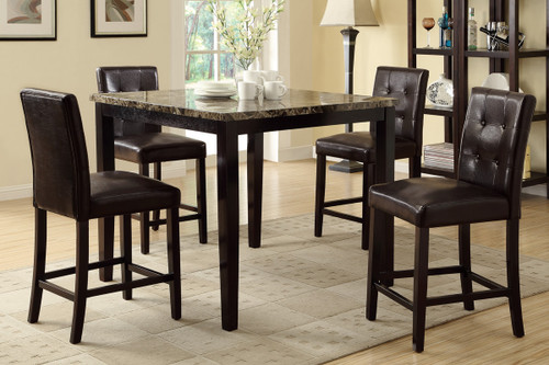 5PCS MARBLE FINISH  COUNTER HEIGHT DINING TABLE WITH DARK BROWN FAUX LEATHER CHAIR  SET