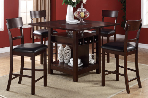 LAVISH DARK ROSY BROWN FAUX LEATHER 5-PIECES COUNTER HEIGHT SET