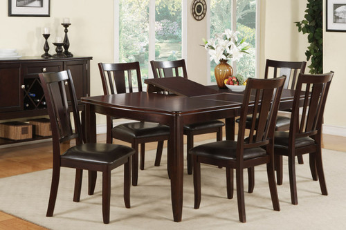 DEEP BROWN WOOD FINISH ABSTRACT RECTANGULAR SHAPED 7-PIECES DINING ROOM SET