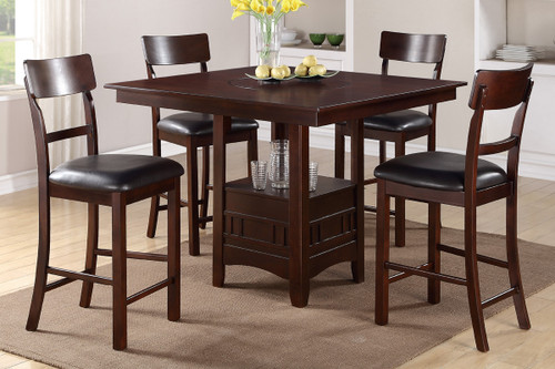 DARK ROSY BROWN FINISH BUILT-IN LAZY SUSAN 5-PIECES COUNTER HEIGHT SET