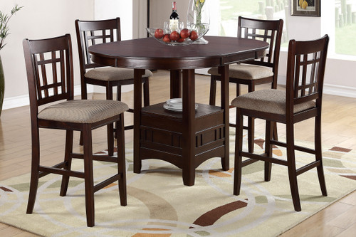 LOVELY WOOD FINISH CLEAN LINED BACK 5-PIECES COUNTER HEIGHT SET