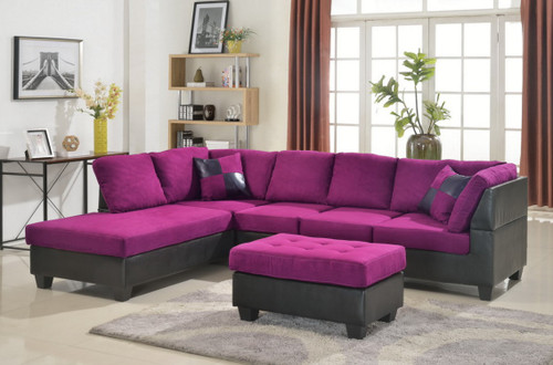 MODERN 2PCS SECTIONAL IN PURPLE MICROFIBER AND LEATHER