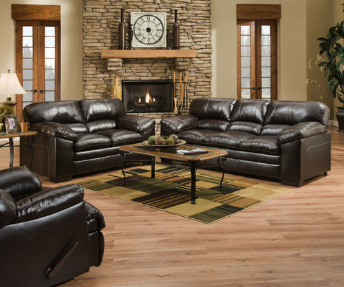 2PC SIMMONS Soft Bonded Leather SOFA and Loveseat (BROWN)