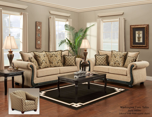 WASHINGTON TRADITIONAL SOFA & LOVESEAT IN TAUPE