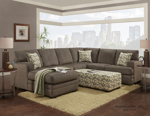 2PC HILLEL SECTIONAL IN PEWTER