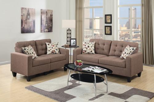 2-Pcs Sofa Set in Light Coffee