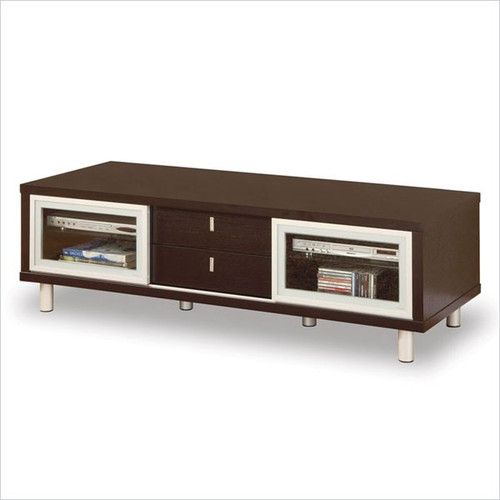 TV Stand Entertainment Console In Contemporary Wenge Finish