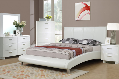 MODERN WHITE LEATHER BED FRAME WITH CURVED SIDE RAILS