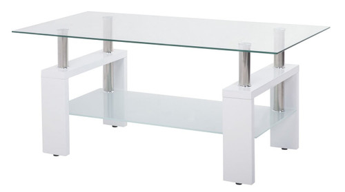Contemporary Coffee Table with Glass Top and Wooden Legs (White)