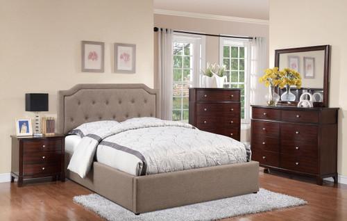 Tan Upholstered Encased Platform Bed (Underneath Storage)