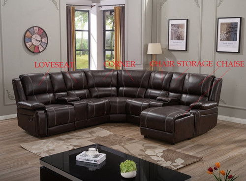 MARCUS 5 PCS COMPLETE BROWN ESPRESSO LEATHER SECTIONAL RECLINER