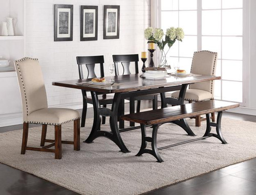 ASTOR WOOD/UPH CHAIRS Dining Table Top 5 Piece Set