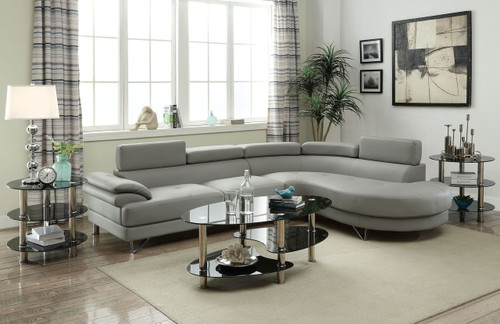 2PCS SECTIONAL SOFA CHAISE IN LIGHT GREY FAUX LEATHER
