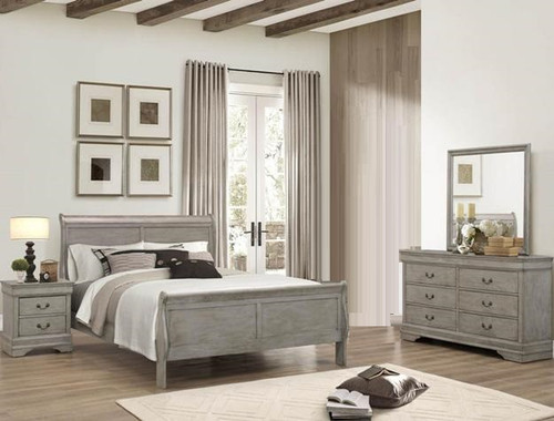 6PCS LOUIS PHILLIP BEDROOM SET IN GREY