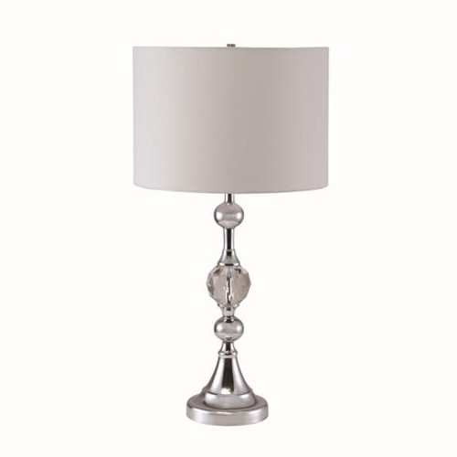CHROME W/ FACETED CRYSTAL TABLE LAMP