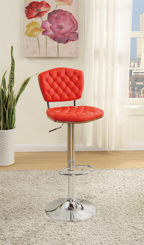 ADJUSTABLE PEDESTAL 2 PIECES BAR STOOL WITH HORIZONTAL ACCENT STITCHING UPLHOLSTERED IN RED FAUX LEATHER