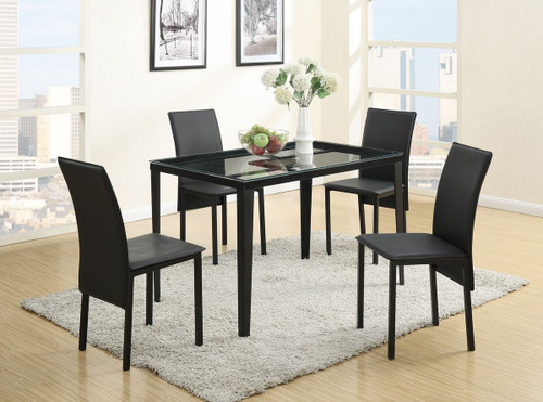 5 PIECES BLACK RETRO STYLE TEMPERED GLASS TOP DINING TABLE SET