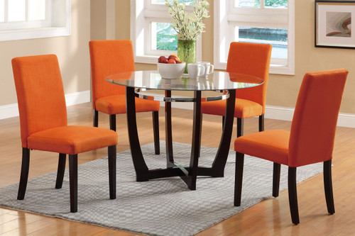 5PC ESPRESSO WOODEN BASE AND GLASS WITH ORANGE CHAIRS