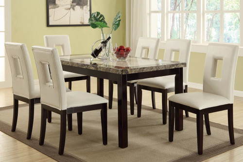 7PCS  WHITE SQUARE SHAPED EYELETS HIGH-BACK DINING ROOM SET