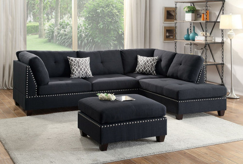 LANEY SECTIONAL WITH OTTOMAN IN BLACK