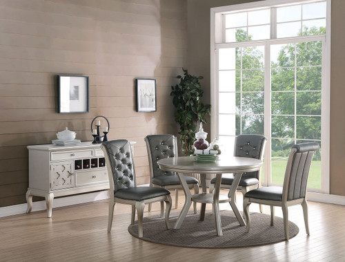 LAVISH STYLE  FORMAL 5PCS  DINING SET IN SILVER FINISH
