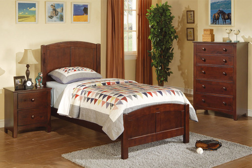 TWIN BED IN DARK OAK WOOD FINISH