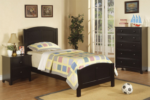 TWIN BED IN BLACK WOOD FINISH