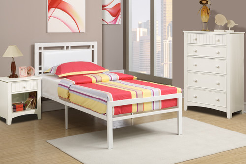 WHITE BEDROOM METAL PLATFORM WITH SLATS TWIN/FULL BED